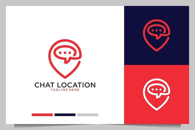 ロケーションラインアートのロゴデザインとモダンなチャット