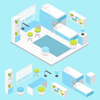 Modern children room composition