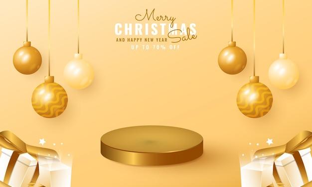 ぶら下げボールとギフトボックスフレームとモダンなクリスマスと新年のセールバナー