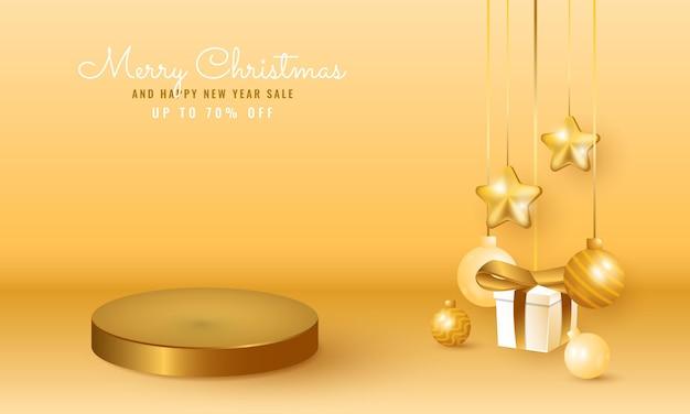 表彰台の製品ディスプレイ、スター、ボール、ギフトボックス付きのモダンなクリスマスと新年のセールバナー