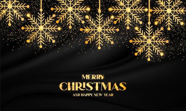 Современные рождественские фоны с золотой снежинкой