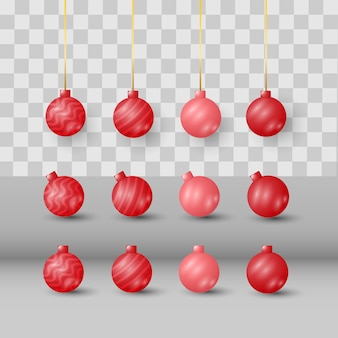 Modern christmas ball icons decoration set