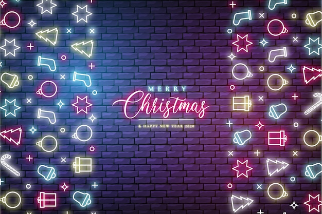 Modern christmas banner with neon lights