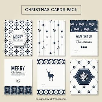 Modern christmas card pack Free Vector