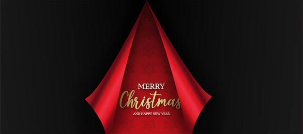 Modern christmas card with red paper