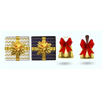 Modern christmas elements with gift boxes and bells