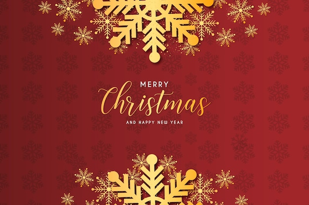 Modern christmas frame with golden snowflake background composition template