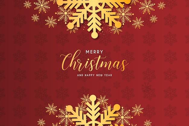 ゴールデンスノーフレーク背景構成テンプレートとモダンなクリスマスフレーム