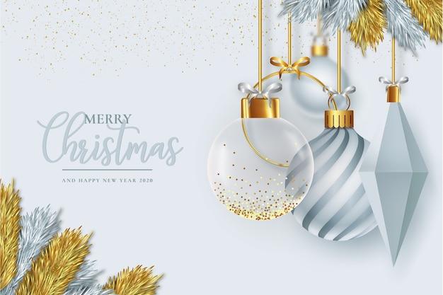 Modern christmas frame with realistic christmas decoration