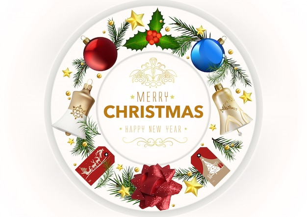 Modern christmas greeting card with xmas ornaments