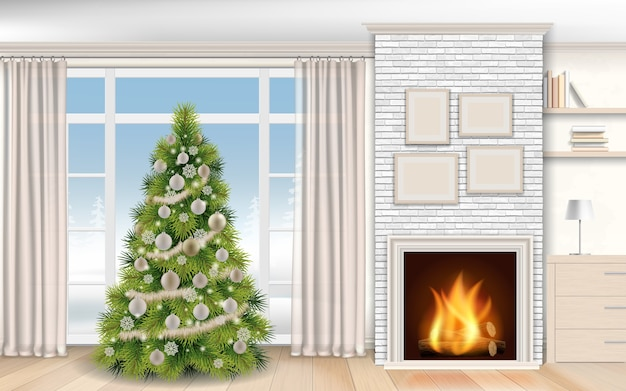 Современный интерьер рождества с камином и елкой. зимний пейзаж за окном на улице, в камине горят дрова.