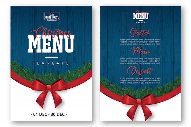 Modern christmas menu template with red ribbon
