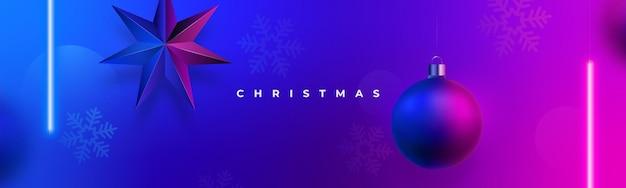 Modern christmas neon banner