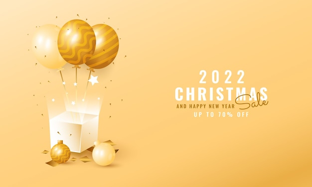 Modern christmas and new year sale banner with golden balloon and gift box
