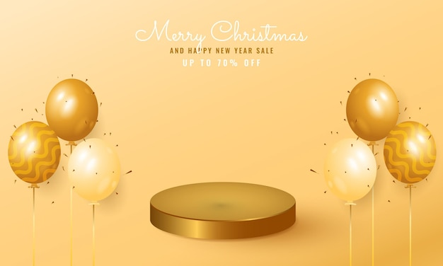 Modern christmas and new year sale banner with golden podium and balloon