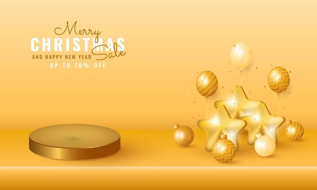 Modern christmas and new year sale banner with podium product presentation, golden balloon and star