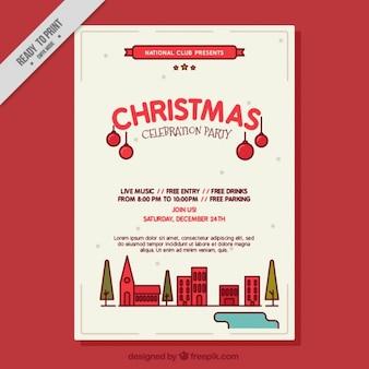 Modern christmas party celebration poster
