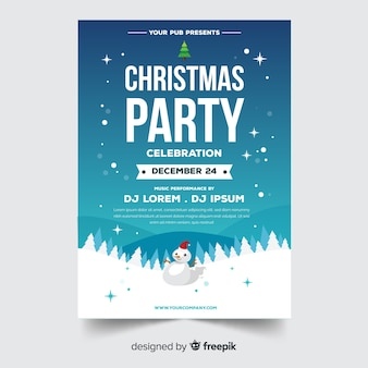 Modern christmas party poster template