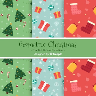 Modern christmas pattern collection with geometric design