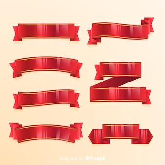 Modern christmas ribbon collection with realistic design