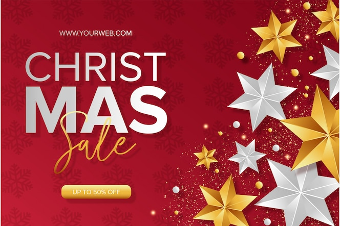 Modern christmas sale background with stars