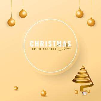 黄金のスパイラルツリーとボールとモダンなクリスマスセールバナー