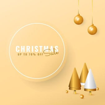 黄金の木とボールとモダンなクリスマスセールバナー