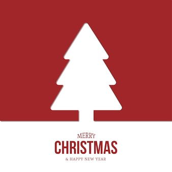 Modern christmas tree background with flat design