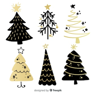 Modern christmas tree collection with abstract style