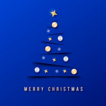 Modern chritmas banner with minimalistic christmas tree and blue background