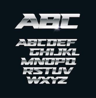 モダンなクロームフォント。金属の文字、磨かれた鋼のスタイルのシンボル。アルミニウムの大胆な幾何学的なアルファベット。