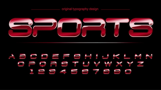 Modern chrome glossy red sports typography