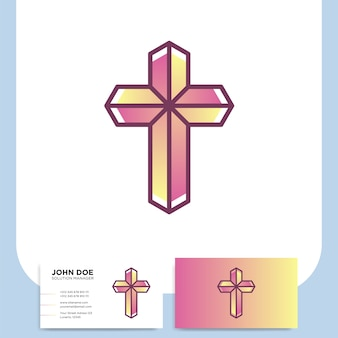 Modern church 3d cross logo