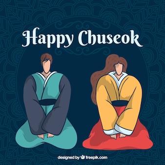 Composizione moderna di chuseok con uno stile adorabile