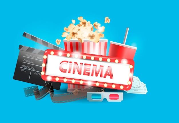 Современное кино. кадр кинопленки с коробкой для попкорна, рулон пленки, колотушка, 3d очки