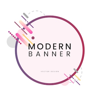 Modern circle banner in colorful frame illustration