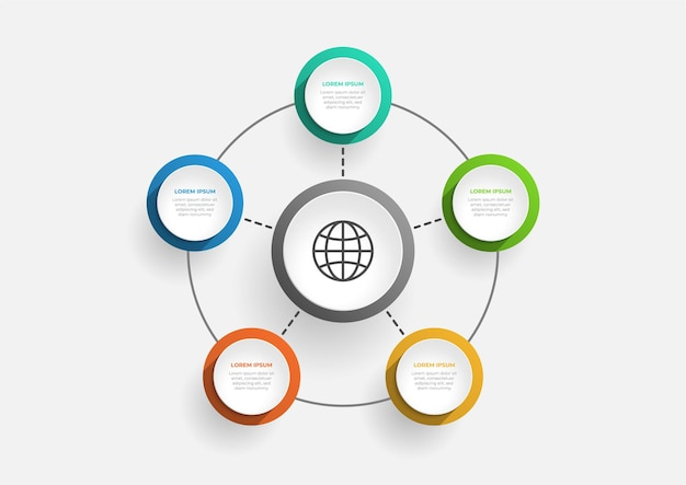 Modern circle chart infographic template with 5 options vector business template for presentation