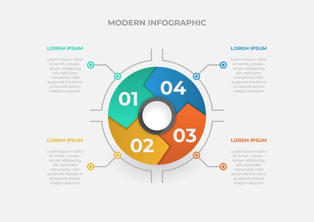 Modern circle chart infographic template with four steps