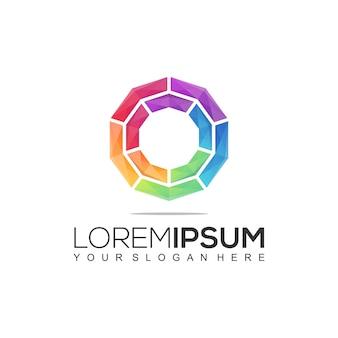 현대 원형 다채로운 로고
