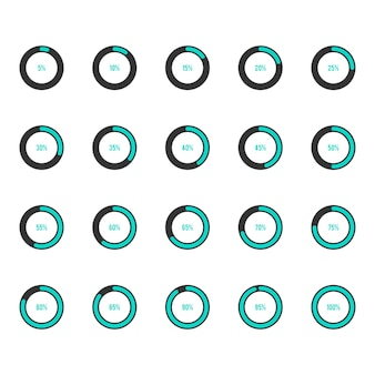 Modern circle progress bar icon set vector illustration