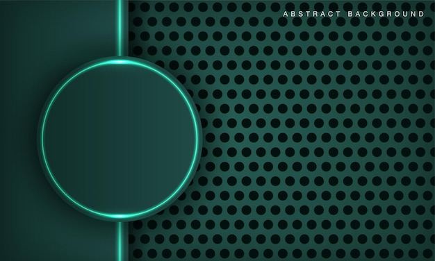 Modern circle technology dark green background with glowing light neon effect