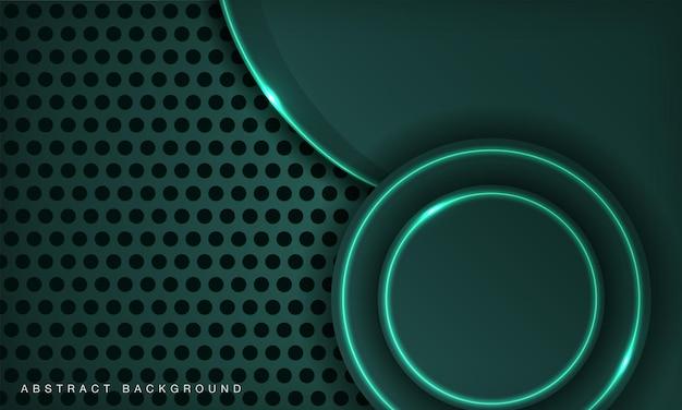 Современные технологии круга темно-зеленый фон с светящимся неоновым эффектом