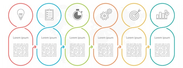 Modern circle timeline infographic 6 options or steps.