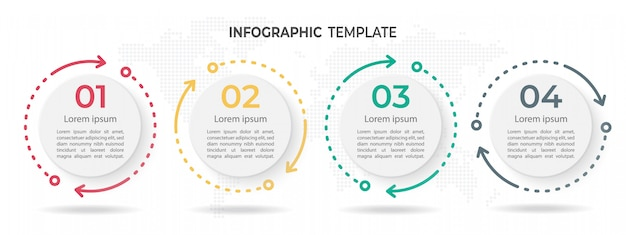 Modern circle timeline infographic template 4 options.