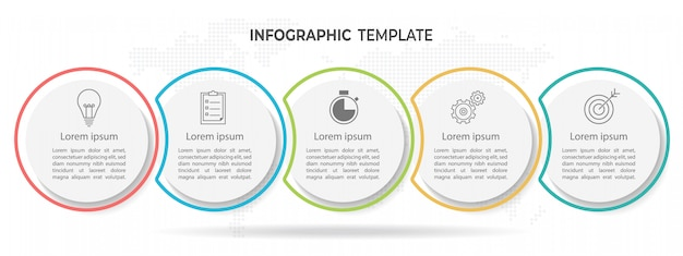 Modern circle timeline infographic template 5 options.