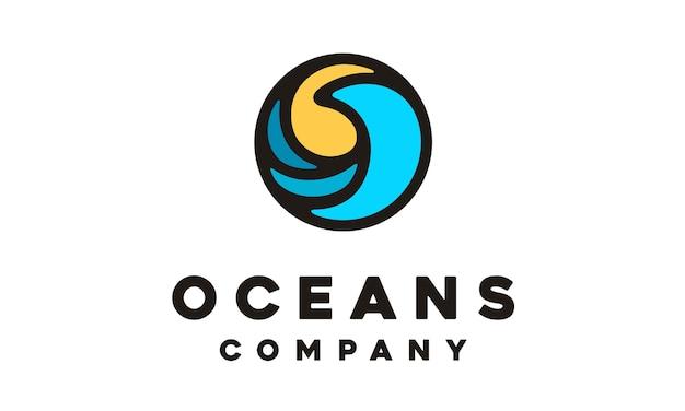 現代の円の波のシンボルのロゴデザインのインスピレーション