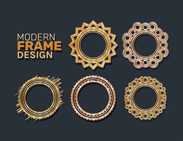 Modern circles frames set gold design of decorative element theme