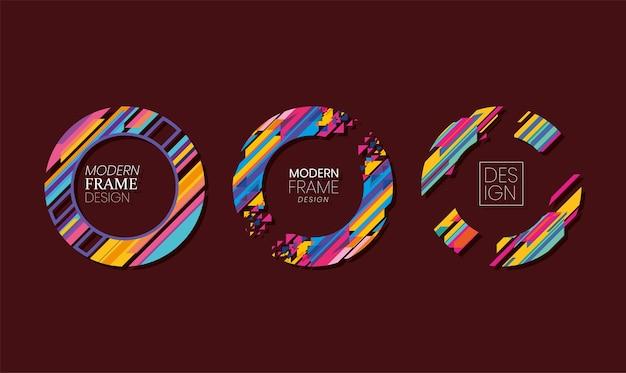 Modern circles frames set striped design of decorative element theme