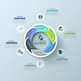 Modern circular infographic design layout with 6 lettered overlapping elements