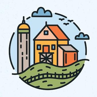 농촌 풍경과 농장 건물 또는 헛간이 라인 아트 스타일로 그려진 현대 원형 로고